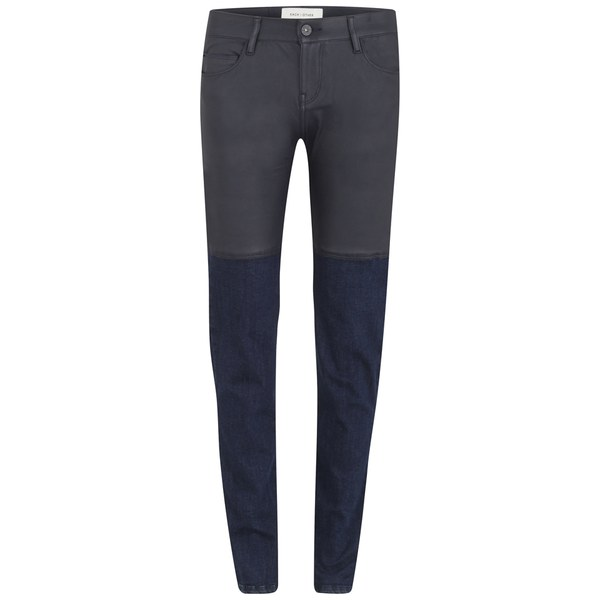 Each X Other Women's Blocked Top Leather Five Pockets Slim Jeans - Dark Navy/Blue