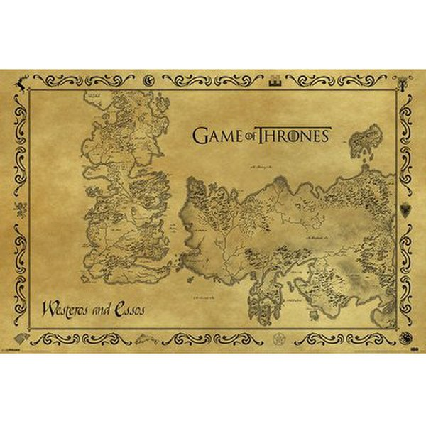 Game Of Thrones Antique Map - 24 x 36 Inches Maxi Poster