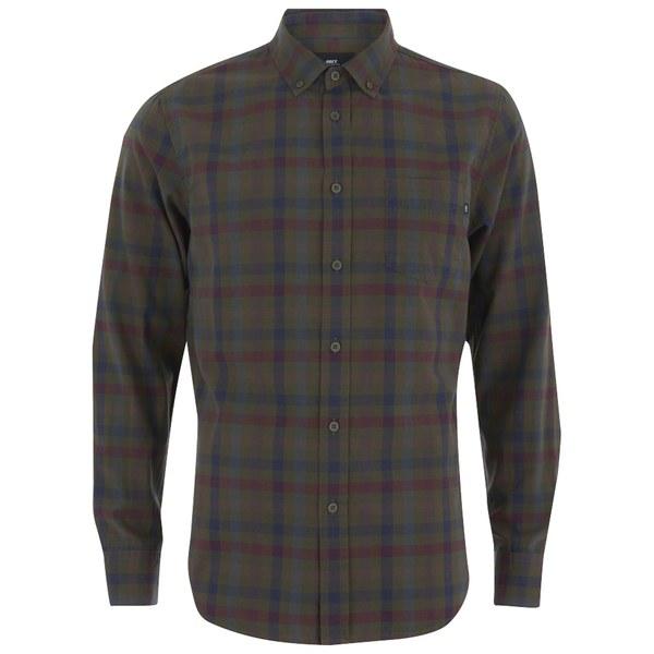 OBEY Clothing Men's Jensen Woven Long Sleeve Plaid Shirt - Army Multi