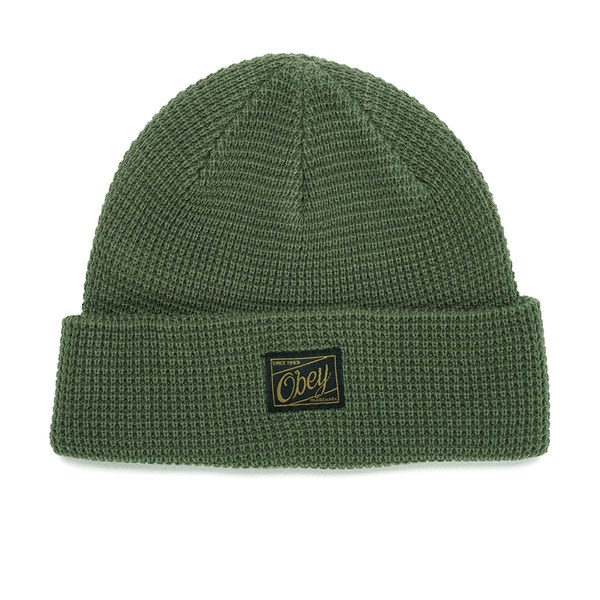OBEY Clothing Men's Roscoe Waffle Knitted Beanie - Army