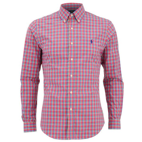 Polo Ralph Lauren Men's Slim Fit Checked Long Sleeve Shirt - Cerise/Blue