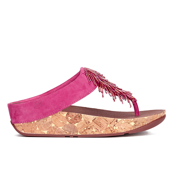 FitFlop Women's Cha Cha Leather/Suede Tassel Toe Post Sandals - Bubblegum