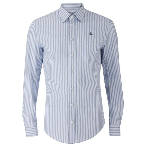 Vivienne Westwood MAN Men's Classic Stretch Stripe Long Sleeve Shirt - Blue Stripe