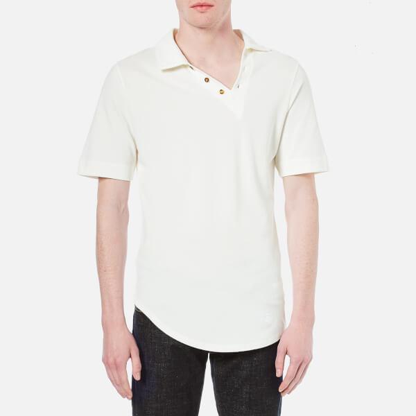 Vivienne Westwood MAN Men's Basic Pique Asymmetric Polo Shirt - White