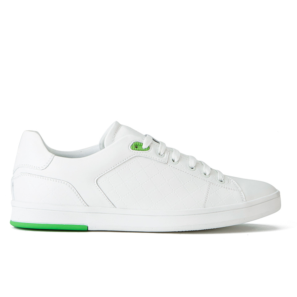 BOSS Green BOSS Green Men's Ray Check Leather Trainers - White - UK 11