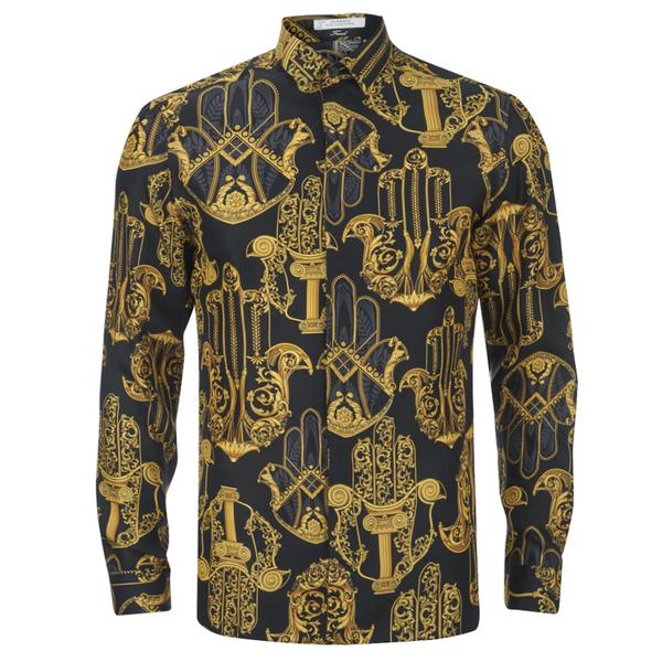 versace collection mens printed silk shirt black free