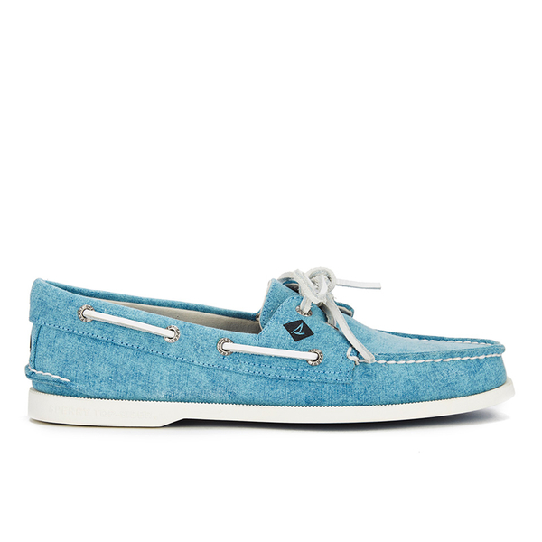 Sperry Sperry Men's A/O 2-Eye White Cap Canvas Boat Shoes - Turquoise - UK 11