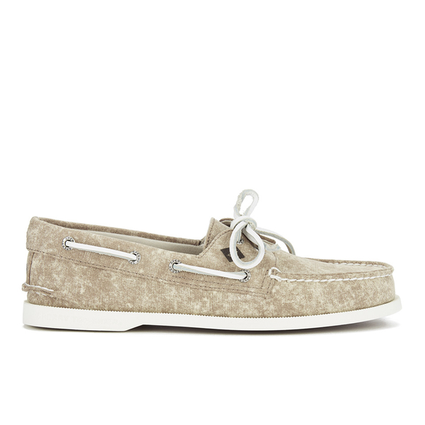 Sperry Sperry Men's A/O 2-Eye White Cap Canvas Boat Shoes - Tan - UK 7