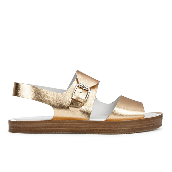 Paul Smith Shoes Paul Smith Shoes Women's Ilse Leather Double Strap Sandals - Vanilla Rodeo Metallic - UK 5