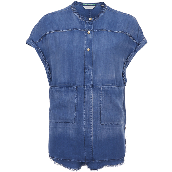 Maison Scotch Women's Short Sleeve Shirt - Blue
