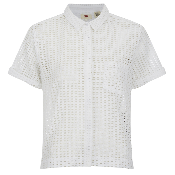 Levi's Women's Short Sleeve Cropped Shirt - White