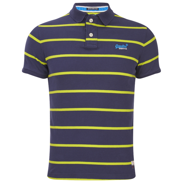 Superdry men 39 s miami stripe polo shirt rigging navy cuba for Embroidered polo shirts miami