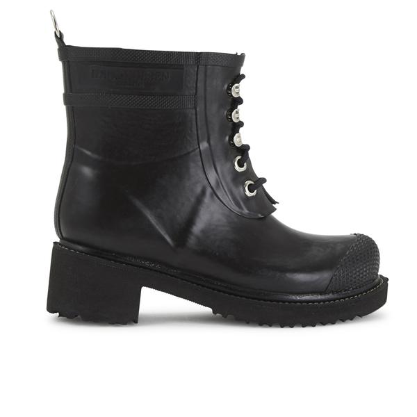 Ilse Jacobsen Ilse Jacobsen Women's Lace Up Ankle Rubber Boots - Black - UK 8