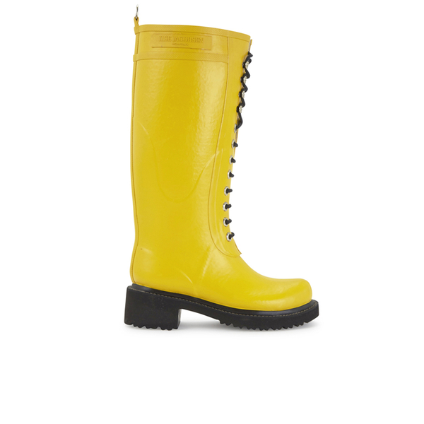 Ilse Jacobsen Ilse Jacobsen Women's Lace Up Tall Rubber Boots - Cyber Yellow - UK 8