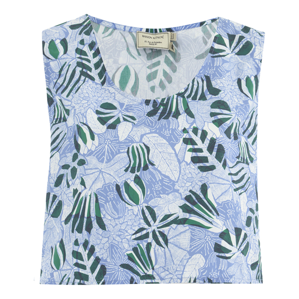 Maison Kitsuné Women's Ana Hibiscus Wrap Around Top - Emerald Sky