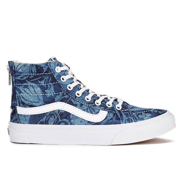 Vans Women's Sk8-Hi Slim Zip Indigo Tropical Trainers - Blue/True White