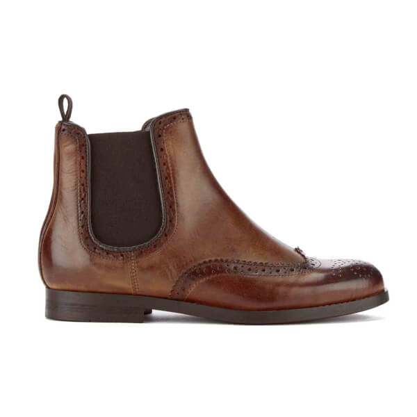 H Shoes by Hudson H Shoes by Hudson Women's Asta Leather Brogue Chelsea Boots - Cognac - UK 8