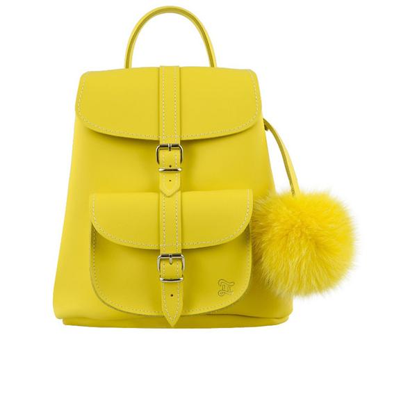 Grafea Women's Sunny Fur Pom Backpack - Yellow