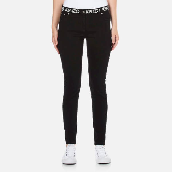 KENZO Women's Logo Top Skinny Jeans - Black