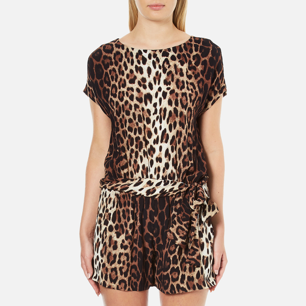 Boutique Moschino Women's Tie Waist Playsuit - Leopard