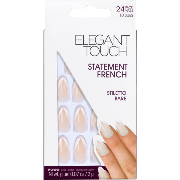Elegant Touch Statement French Nails - Stiletto Bare