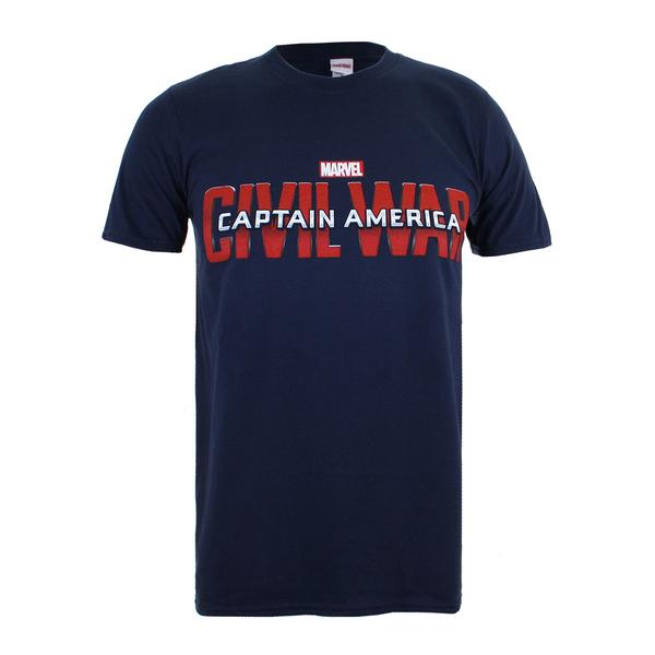 Marvel Men's Captain America Civil War Logo T-Shirt - Navy