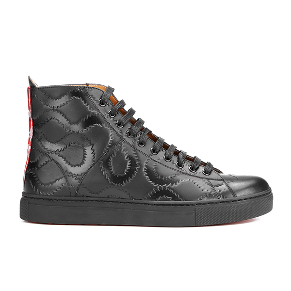 Vivienne Westwood MAN Vivienne Westwood MAN Men's High Top Embossed Squiggle Leather Trainers  - Black - UK 10