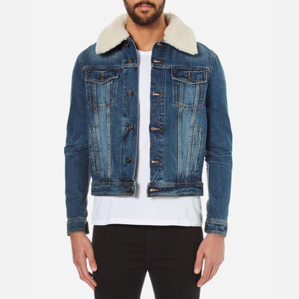 AMI Men's Shearling Collar Denim Jacket - Blue