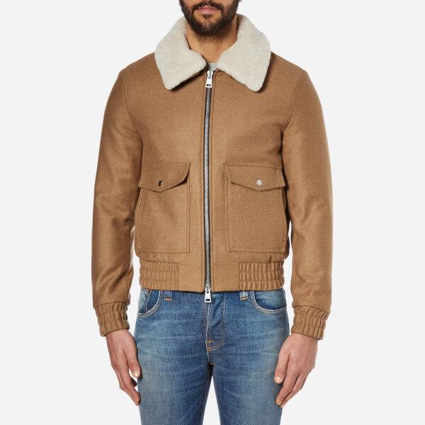 AMI Men's Shearling Collar Wool Jacket - Camel