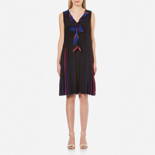 Marc Jacobs Women's Pleated V-Neck Dress with Tie - Blue Multi