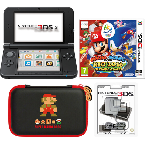 nintendo 3ds xl black mario sonic at the rio 2016 olympic games pack nintendo uk store. Black Bedroom Furniture Sets. Home Design Ideas