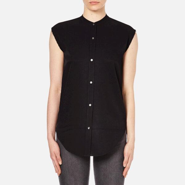 Helmut Lang Women's Jacquard Twill Sleeveless Back Knot Shirt - Black
