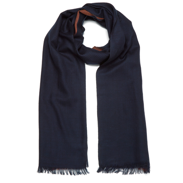 Paul Smith Accessories Men's Houndstooth Block Scarf - Navy