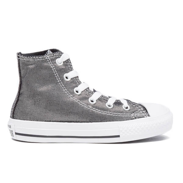 Converse Kids' Chuck Taylor All Star Shimmer Hi-Top Trainers - Silver/Black/White