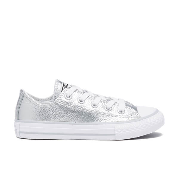 Converse Kids' Chuck Taylor All Star Metallic Leather OX Trainers - Pure Silver/White