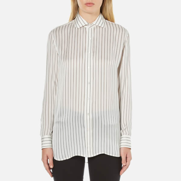 Polo Ralph Lauren Women's Joa Striped Long Sleeve Shirt - Oyster/Grey