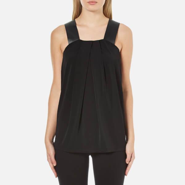 MICHAEL MICHAEL KORS Women's Leather Strap Pleat Front Top - Black