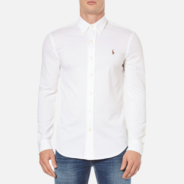 Polo Ralph Lauren Men's Long Sleeve Pique Full Button Shirt - White