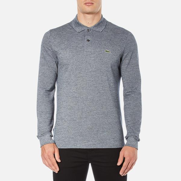 Lacoste Men's Long Sleeve Marl Polo Shirt - Navy Blue/Mouline