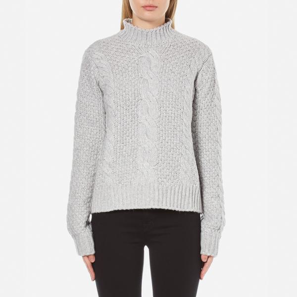 Gestuz Women's Sanni Pullover Grey Cable Knit Jumper - Grey