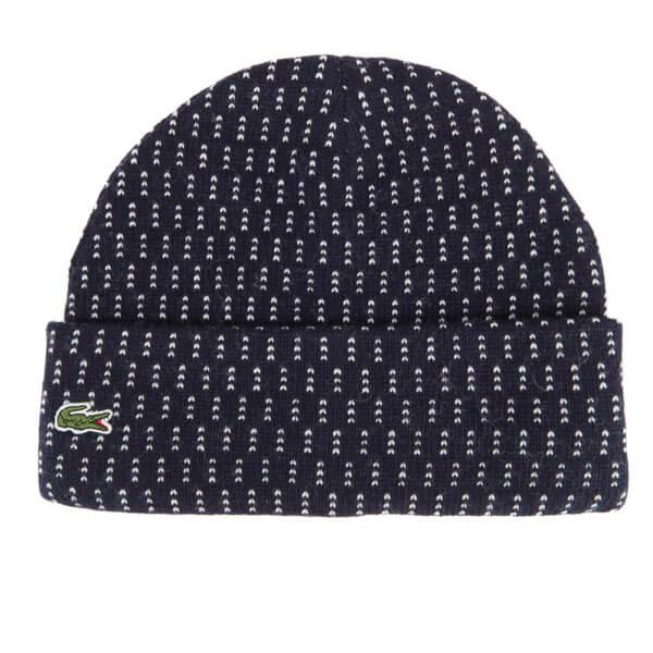 Lacoste L!ve Men's Ribbed Beanie Hat - Navy Blue/White