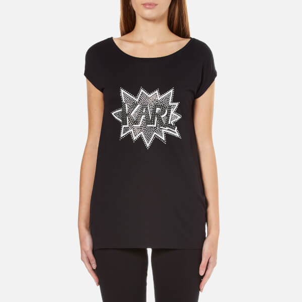 Karl Lagerfeld Women's Embellished Karl Pop T-Shirt - Black