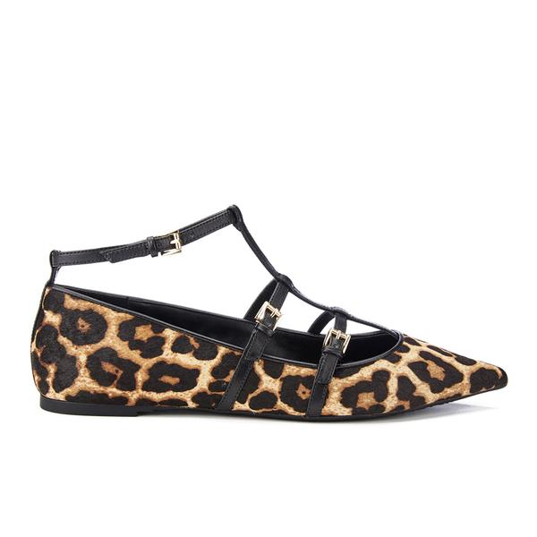 MICHAEL MICHAEL KORS Women's Marta Leopard Calf Pointed Flats - Natural