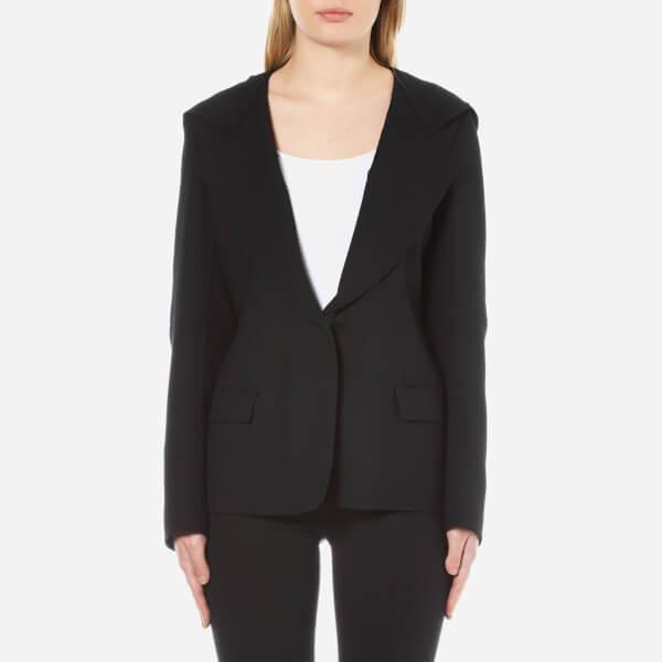 DKNY Women's Long Sleeve Collared Jacket with Hood - Black