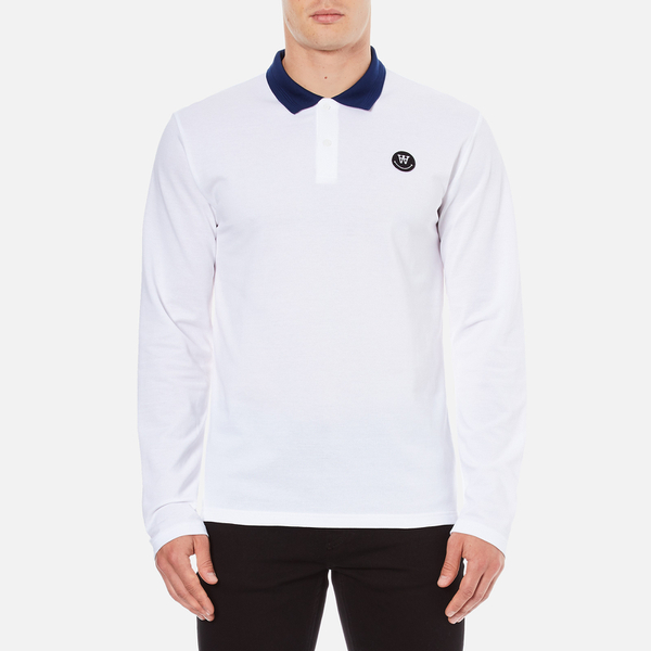 Wood Wood Men's George Long Sleeve Polo Shirt - Bright White