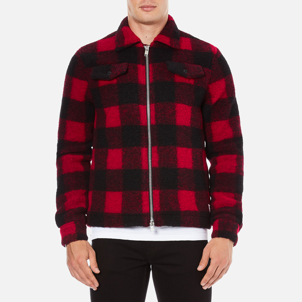 Wood Wood Men S Dale Checked Jacket Biking Red Checks