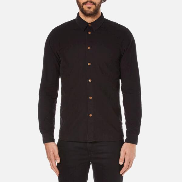 Folk Men's Textured Long Sleeve Shirt - Charcoal