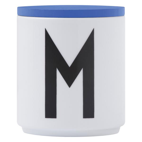 Design Letters Wooden Lid For Porcelain Cup - Blue