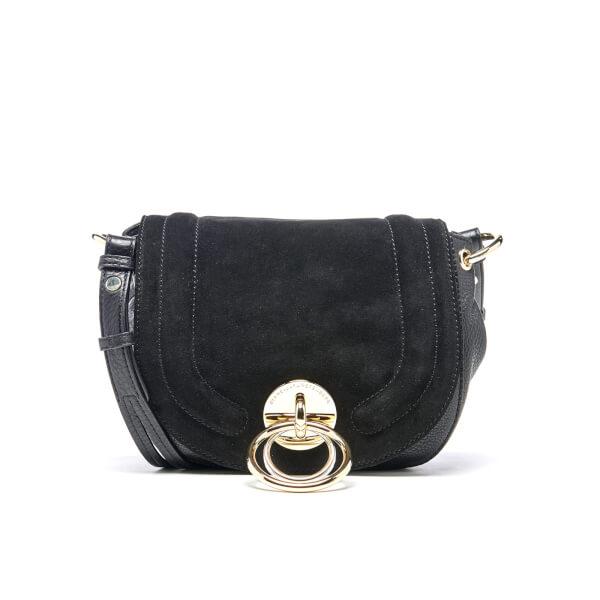 Diane von Furstenberg Women's Love Power Suede Saddle Bag - Black