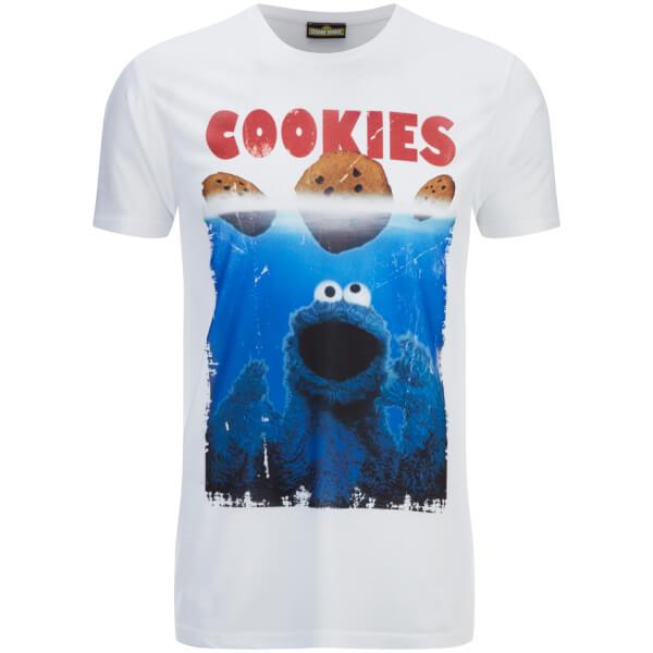 Cookie Monster Men's Shark Cookie Monster T-Shirt - White
